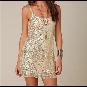 Free People Intimately gold sequins slip dress L